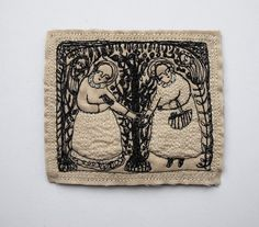in an orchard at twilight an embroidery portrait by cathycullis, £55.00