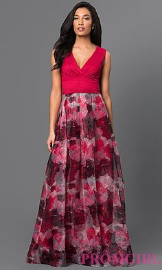 V-Neck Sleeveless Dress with Print Skirt at PromGirl.com