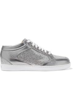 Jimmy Choo - Miami Glittered And Metallic Leather Sneakers - Silver