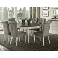 Buy Everhome Designs - Vegas 7 Piece Round To Oval Extension Dining Table Set for 6 (Parsons Chairs) Round Dining Table Modern, Round Dining Table Sets, Kitchen Dining Sets, Extension Dining Table, 7 Piece Dining Set, Table And Chair Sets, Best Dining, Kitchen Ideas, Kitchen Chairs
