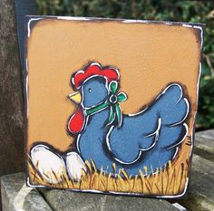 Two hens for a country display of paper towel or for post mail on painted wood. de la boutique LULdesign sur Etsy