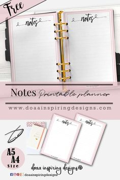 Notes Page free Printable Planner - Doaa inspiring Designs