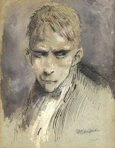 Mervyn Peake - Steerpike, Gormenghast's villain.  Watercolour & Ink