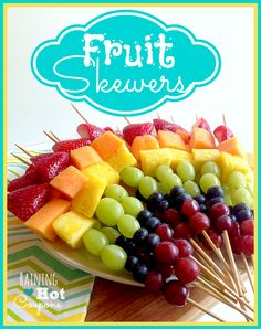 fruit skewers Rainbow Fruit Skewers Recipehttp://www.raininghotcoupons.com/rainbow-fruit-skewers-recipe/  serve with whip cream or sweetened cream cheese or plain yogurt with agave nectar