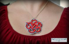 Red Blue and White Cloud Knot by ForgetMeKnots2 on Etsy, $17.00