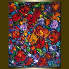 Rose Red Roses Floral Original Painting Textured by willsonart, $135.00