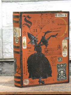 Large Vintage Inspired Paper Mache Halloween Witch's Book of SPELLS Book Box Hand Painted Black WITCH Owl