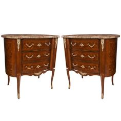 Pair of Shaped, Marble Topped  3  Drawer Chests | From a unique collection of antique and modern commodes and chests of drawers at https://www.1stdibs.com/furniture/storage-case-pieces/commodes-chests-of-drawers/
