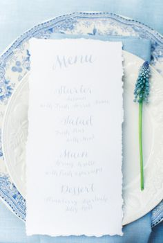 Menu: http://www.stylemepretty.com/2015/06/05/elegant-something-blue-netherlands-wedding-inspiration/ | Photography: Anouschka Rokebrand - http://www.anouschkarokebrand.com/