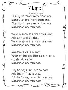 """""""Plural"""" Song (Tune: """"London Bridge"""" free; from First Grade Wow)"""