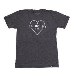 LA  KC  NY HEART DK HEATHER GREY