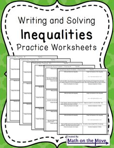 Five similar worksheets of varying levels.  Students write, solve and graph inequalities.  Includes word problems.