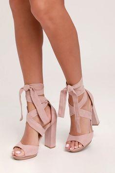 Dorian Blush Suede Lace-Up Platform Heels Lovely Blush Heels – Lace-Up Heels – Vegan Suede Heels Schnür Heels, Blush Heels, Prom Heels, Cute Heels, Stiletto Heels, Homecoming Heels, Heeled Sandals, Strap Sandals, Fall Heels