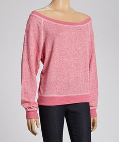 Loving this TROO Raspberry Sorbet French Terry Off-Shoulder Sweatshirt - Women on #zulily! #zulilyfinds