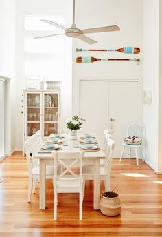 Dining room from beachy family home with a classic coastal aesthetic. Photo: Will Horner | Story: homes+