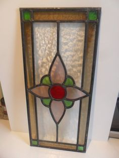 WONDERFUL CONDITION VINTAGE STAINED GLASS PANEL
