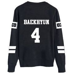 KPOP EXO Black Sweater Long Sleeve Hoody Pullover Sweatershirt ($17) ❤ liked on Polyvore featuring tops, exo, sweaters, long sleeve tops, long sleeve pullover, sweater pullover and pullover tops