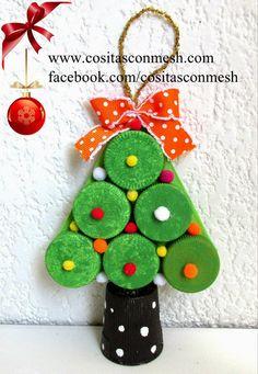 Arbolitos navideños con tapas de botellas recicladas- DIY -Tutorial