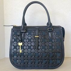 Fossil Ryder Woven Leather Satchel Midnight Navy for sale online Fossil Satchel, Satchel Purse, Satchel Handbags, Crossbody Bag, Brown Satchel, Black Leather Satchel, Fossil Handbags, Fossil Bags, Tan Bag