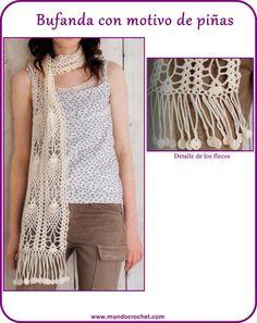 Bufanda crochet piñas