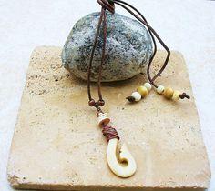 Maori Style Bone Fish Hook Copper Necklace  by KipajiPraiseJewelry