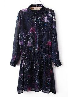 Dark Blue Long Sleeve Star Print Dress