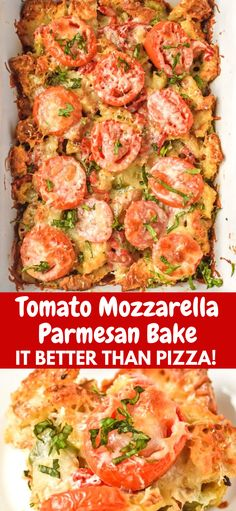 Tomato Mozzarella Parmesan Bake - Melting cheese over garden fresh tomatoes with a layer of french baguette bread cubes flavored with green peppers onions and garlic. Fresh Tomato Recipes, Vegetable Recipes, Vegetarian Recipes, Cooking Recipes, Healthy Recipes, Baked Tomato Recipes, Breaded Tomatoes Recipe, Recipes For Tomatoes, Baked Tomato Slices