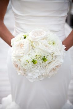 White Dahlia and White Garden Rose Bouquet Design by Lindsay Landman Events, Floral by Renaissance Floral Design, Photo by Sofia Negron