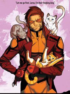 Gambit and his cats. X-Factor - X-Men - comics