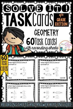 60 Task Cards for 4th Grade Common Core - Geometry