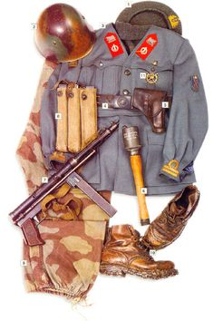 "Lieutenant, RSI ""Decima MAS"", Italy, 1943-44. 01 - ""basco"" beret  02 - Model 1933 helmet  03 - Model 1941 airborne jacket, leutenant's insignia on the cuffs, division badge on the upper sleeve  04 - German belt  05 - holster for Beretta 1933 pistol  06 - German M-24 grenade  07 - 9 mm TZ-45 SMG  08 - ammo pouches  09 - trousers  10 - mountain boots, German  11 - memorial badge of the ""Folgore"" company"