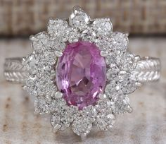 ESTATE 2.43CTW NATURAL PINK CEYLON SAPPHIRE DIAMOND RING 14K SOLID WHITE GOLD #Cocktail