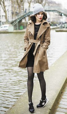 | Sneakers with black dress and trench coat |