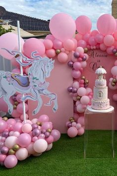 Take a look at this gorgeous carousel 1st birthday party! Love the party decorations! See more party ideas and share yours at CatchMyParty.com