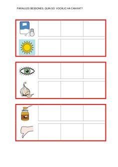 Fitxes per treballar la consciència fonològica Catalan Language, Clu, Book Worms, Bar Chart, Messages, Writing, Education, Reading, School