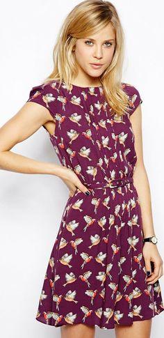 ASOS Skater Dress With Pintucks In Bird Print