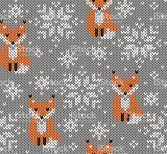 Jacquard Knitted Seamless Pattern Winter Background With Stock Vector (Royalty Free) 523220335 Foxes jacquard knitted seamless pattern. Winter background with cute animals. Motif Fair Isle, Fair Isle Chart, Fair Isle Pattern, Fair Isle Knitting Patterns, Knitting Charts, Knitting Stitches, Crochet Socks, Knitting Socks, Baby Knitting