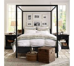 Pottery Barn Fall 2013 - love the frames hanging above and inside the frame of the canopy bed. Totally something we could do with our canopy bed from Ikea. Metal Canopy Bed, Canopy Bed Frame, King Bed Frame, Bedding Master Bedroom, Home Bedroom, Bedroom Decor, Bedroom Ideas, Steel Canopy, Ikea Canopy