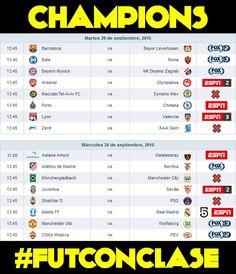 Para que no se pierdan mañana la #ChampionsLeague acá los horarios y canales: