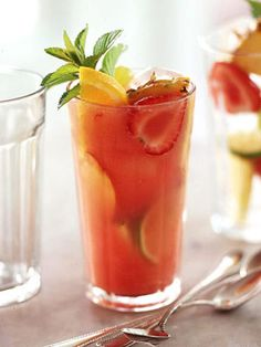 When guests come over for a summer cookout, start the festivities with this slimming three-fruit bubbler served over ice. It only has 61 calories per serving.