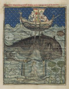 Alexander the Great travels beneath the sea in a 13th Century glass submarine, an illustration from the Roman d'Alexandre
