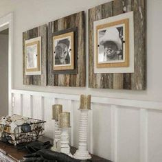 For the Home. Beautiful wooden boards used as picture frames to create a nice #rustic feel
