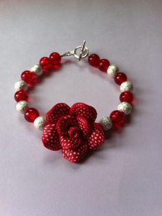 Red and Silver Sparkle Bead Bracelet with Red Flower.  Length 20.5cm.  #MoggysMall, #Etsy, #Flower, #Bracelet