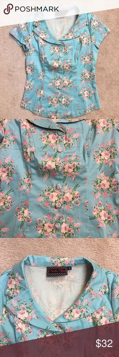 Selling this Voodoo vixen teal floral top on Poshmark! My username is: rosaliamiller. #shopmycloset #poshmark #fashion #shopping #style #forsale #Voodoo Vixen #Tops