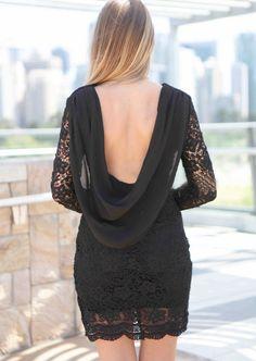 Black Long Sleeve Crochet Lace Draped Back Dress