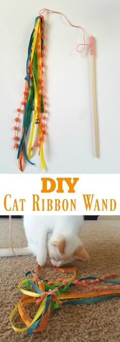 Cat Ribbon Wand Toy DIY Cat Ribbon Wand Learn how to make this super easy DIY cat toy that your cat will go bananas over!DIY Cat Ribbon Wand Learn how to make this super easy DIY cat toy that your cat will go bananas over! Diy Cat Toys, Diy Pet, Homemade Cat Toys, Diy Animal Toys, Pet Treats Diy, Diy Jouet Pour Chat, Ribbon Wands, Diy Ribbon, Interactive Cat Toys