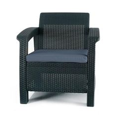 Keter Corfu Charcoal All-Weather Resin Patio Armchair with Charcoal Cushion-205068 - The Home Depot