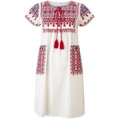 Star Mela Lina Embroidered Dress, Multi ($160) ❤ liked on Polyvore featuring dresses, long-sleeve mini dress, short sleeve maxi dress, white summer dresses, short-sleeve dresses and white boho dress