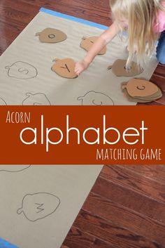 An acorn alphabet matching game. A great Autumn themed activity for preschool.