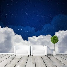 Night sky Photo Wallpaper Galaxy wallpaper Custom 3D Clouds & stars Wall Murals Kids Girls Bedroom Living room decor Art Design